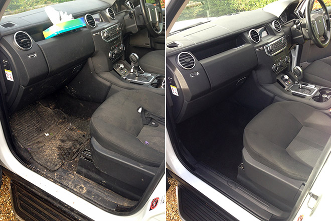 Land Rover: interior before and after